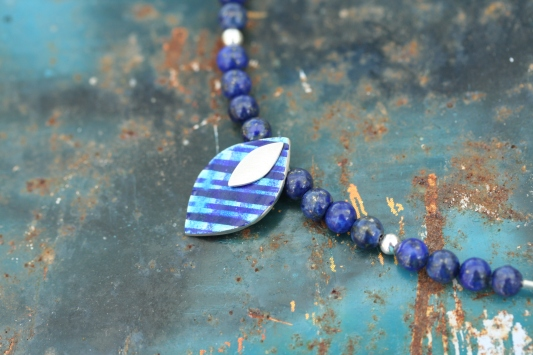 Petal necklace, lapis weave